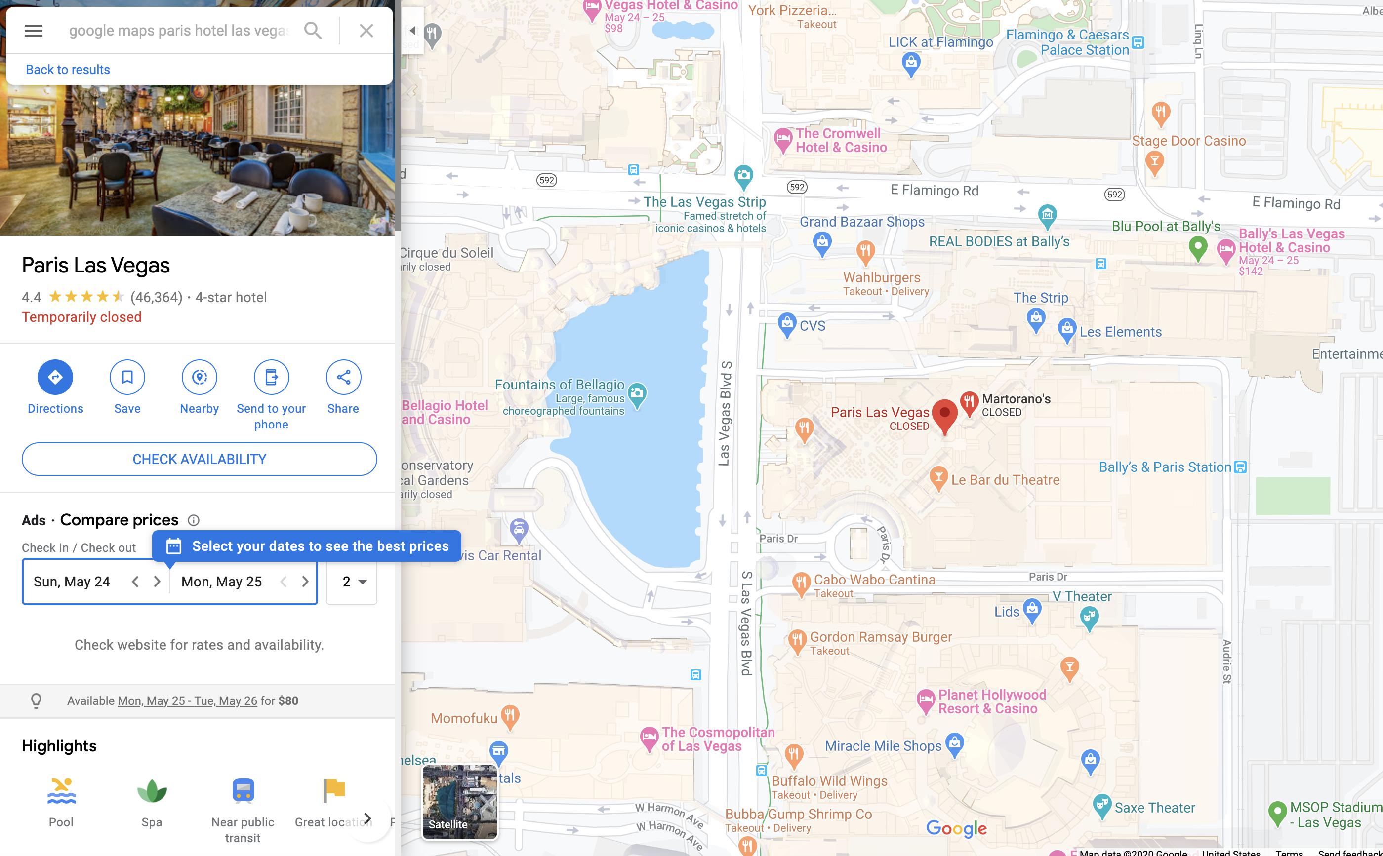Google Maps: Paris Hotel & Casino (2020)
