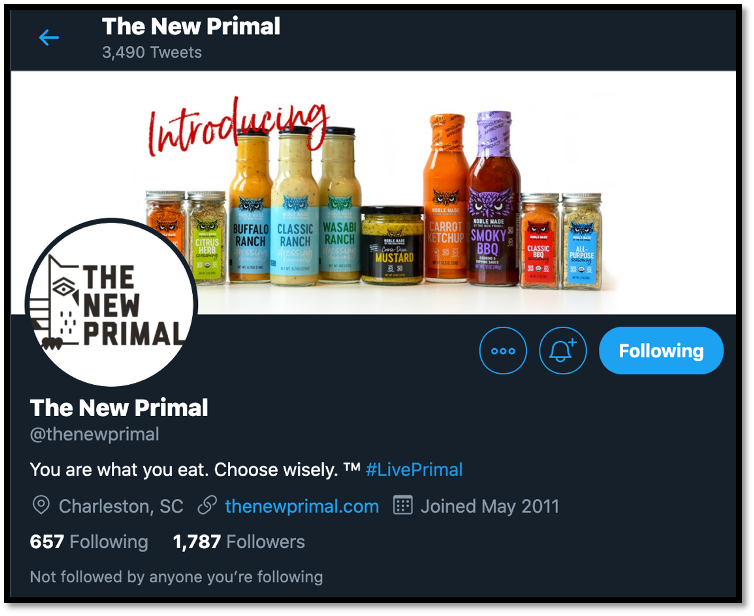 Source: Corey Seamster (2020) | Image: Screenshot of The New Primal Twitter Homepage